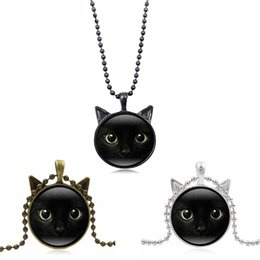 vintage cat necklace Coupons - 2018 Unique Necklace Glass Cabochon Silver Alloy Tradition Black Cat Picture Vintage Pendant Necklace For Women Free DHL D598S