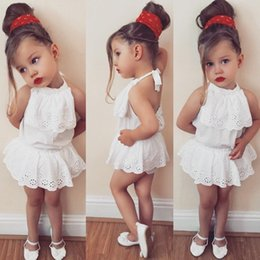 Wholesale Top Selling Kids Clothes - 2018 INS summer new style hot selling Baby girl kids 2 Pieces Set cotton Sling halter tops + shorts kids clothing sets free shipping