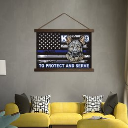 Wholesale Picture Frames Dogs - Hanging Pictures American Flag Scroll Paintings HD Printed On Canvas Dog Poster Wall Art For Living Room Home Decor Wooden Frame