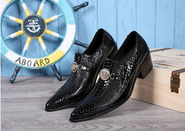 Wholesale Boat Shoes Business Casual - 2017 New style Crocodile Pattern Leather Mens Oxford Shoes Slip-On Casual Business Men Pointed Shoes Brand Mens Wedding Dress Boat Shoe M479