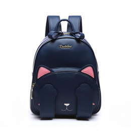 Wholesale Characters Blue Cat - duolaimi brand cute cat character appliques rucksack hotsale women embroidery shopping bags ladies preppy style student backpack
