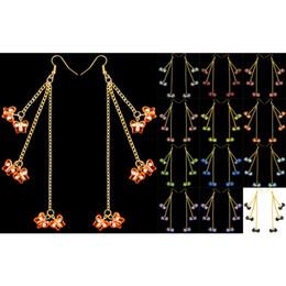 2019 la farfalla acrilica borda all'ingrosso Butterfly Bead Earrings 11 Colori Acrilico Bead Hook Golden Chain Chandelier Ciondola Eardrop Lotti all'ingrosso (Nero Rosso Blu Giallo) (JZ032) la farfalla acrilica borda all'ingrosso economici