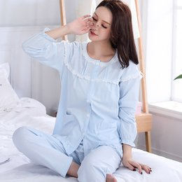 Wholesale Cotton Lace Nightgowns - Autumn long sleeve women's lingerie set with lace cotton nightwear set european luxury pajamas sets home wear new pijamas mujer