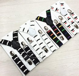 Wholesale Children Boy Clips Suspender - Cute Printing Suspenders Children Boys Beard Patter Braces Girls All Match Elastic Adjustable Straps Clip On New Style 3 5zy Y