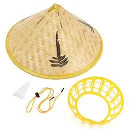 Wholesale Hats Asian - Handmade Leaves Bamboo Woven Hat Tourism Rain Gear Cap Costume Cone Conical Farmer Asian Chinese Country For Performance Show