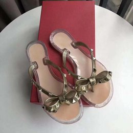 Wholesale see through leather - new bow-knot with rivets beach shoes candy jelly sandals chain flat bottomed out sandals SLIDES SLIPPER SANDAL See-through flat sandal