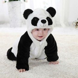 Wholesale Baby Bodies Long Sleeve - unisex Cute new fashion baby animal costume panda climbing pajamas romper jumpsuit coverall Long Sleeve full body