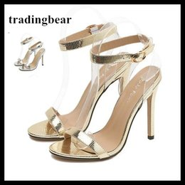 Wholesale transparent silver pumps - Transparent PVC Patchwork Ankle Strappy Silver Gold High Heels Shoes Women Party Events New 2018 Size 35 to 40