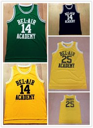 Wholesale L Bel - NCAA cheap Will Smith BEL-AIR Academy Jersey 14 film embroidery letter sleeveless yellow basketball jersey