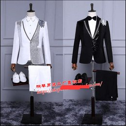 Wholesale Dance Costumes Jacket - 2017 New men's clothing performance wear formal dress black and white dance bling suit jacket plus size stage singer costumes