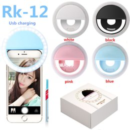 Wholesale Camera Ring Iphone - Universal Battery Rechargeable Selfie LED Ring Flash Fill Light Camera For Iphone Android cell phone Ipad With Retail Packaging