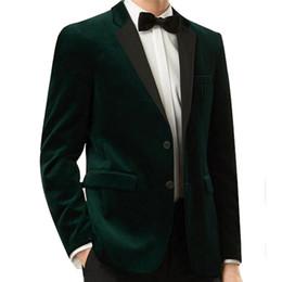Wholesale Plus Size Velvet Blazer - Two Piece Dark Green Velvet Wedding Groomsmen Tuxedos 2018 Custom Made Blazer Business Men Suits Black Pants Jacket