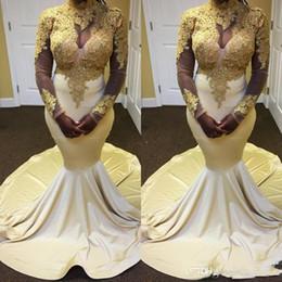 5985f5c83c3 2019 robe en bandoulière en or blanc Robes de soirée sirène sud-africaines  Appliques en