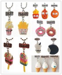 Wholesale Halloween Desserts - Best Friends Pendant Necklaces Cute Children Jewelry BFF unicorn necklace Simulation Resin Cartoon Necklaces Dessert Series
