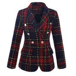 Морская пряжка онлайн-Новый с лейблом бренда B высокое качество оригинальный дизайн женщин двубортный металлической пряжкой блейзер темно-красный плед тонкий куртка пиджаки