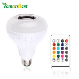 Wholesale Audio Control Android - LemonBest AC100-240V Bluetooth 3.0 Music Audio RGB Speaker Light RGB 12W E27 LED Bulb Lamp for iOS Android with Remote Control