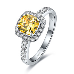 Wholesale White Gold Cushion Diamond Ring - 1Ct Cushion Cut Golden Synthetic Diamonds Pillow Women Engagement Ring 925 Sterling Silver White Gold Color Magnificent Ring