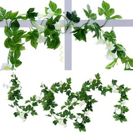 Wholesale Morning Glories Plants - 4pcs 7.5Ft Artificial Morning Glory Vines Hanging Silk Garland Fake Green Plant Home Garden Wall Fence Indoor Outdoor Wedding Birthday Decor