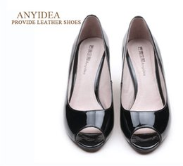 Wholesale Custom Wedge - Sheepskin Patent Leather Shoes For Women Heels And Pumps Custom Genuine Leather Shoes And Boots for women