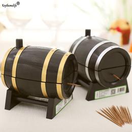 Wholesale Plastic Wine Barrels - Keythemelife Wine Barrel Plastic Automatic Toothpick Holder Box Toothpick Storage Container Dispenser Kitchen Tool C