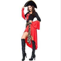 Crânio Traje Sexy Pirata Adulto Mulheres Trajes de Carnaval de Halloween Fantasia Vestido Extravagante Disfraz Mujer Adulta M-2XL de
