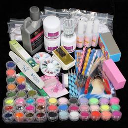 Acryl kunst tipps online-Hochwertige Acryl Nail Art Tips Puder Liquid Brush Glitzer Clipper Primer Feilen Set