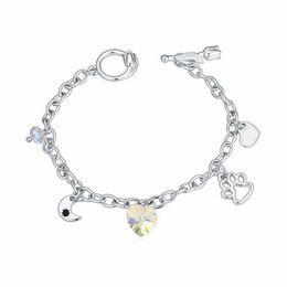 2019 mondcharme armband Crystal Charm Ornament Armband Crystal von Swarovski Star Mond Herzförmige Fußabdrücke von Mädchen Juwelen 19280 günstig mondcharme armband