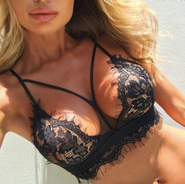 89283f02687b2 5 Pieces Lace Lingerie Bra for Women Sexy Black White Hollow Out Wire Free  Bralets Y Line Designs See Through Lingerie Bras see through black bras  promotion