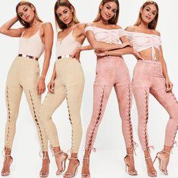 pantaloni rosa capri yoga Sconti Moda donna Sexy Pantaloni Yoga 2018 Europa e Stati Uniti Fasciatura Sportiva Activewear Pantaloni kaki rosa Leggings da donna