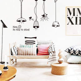 Wholesale Vinyl Ceiling - Art Design Home Decor Cheap Vinyl Cartoon Lights Wall Sticker Colorful Ceiling Lamp Decals for House Decoration In Rooms