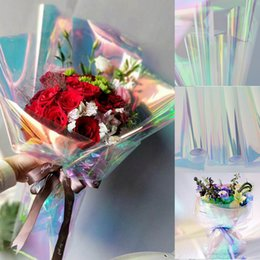 Wholesale cellophane packaging - Exquisite Rainbow Film Flower Gift Bouquet Warp Paper Laser Candy Cake Packaging Waterproof Wrapping Cellophane Festival Supplies AAA742