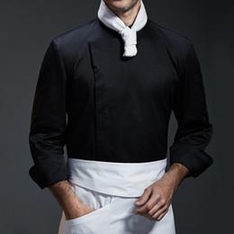 2019 mangas uniforme do hotel Branco Cinza Preto Camisa de Manga Longa Restaurante de Hotel de Luxo Chef de Cozinha Uniforme Bistrô Baker Bartender Catering Desgaste do Trabalho B96 desconto mangas uniforme do hotel