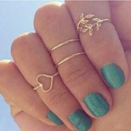 anillo de bodas único conjunto de oro Rebajas Midi Knuckle rings 4 unids / set único conjunto de anillos de color oro Knuckle Punk anillos para las mujeres anillos de compromiso de dedo anillos de boda conjuntos