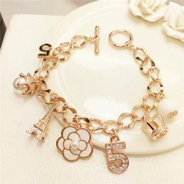 Wholesale gold jewellery brands - S106 Number 5 luxury brand designer jewellery tassels flowers 2017 jewelry bracelets & bangles kpop jewlery for women