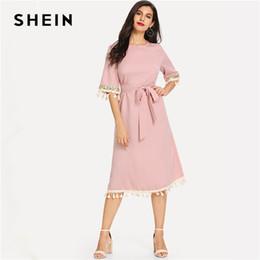SHEIN Pink Elegant Office Lady Minimalist Sequin And Tassel Detail Belted Natural  Waist Dress Summer Women Workwear Dresses 7f742132d542