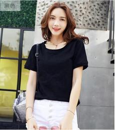 T-shirt heiße modell frauen online-Heißer Verkauf Mode Mädchen Frauen t-shirt Damen Qualität Baumwolle T-shirt Plue Größe Kurzarm Lose Fit Femme Stil Modell