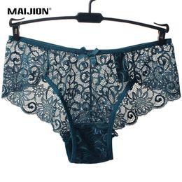 Wholesale Exotic Bikinis - MAIJION Women Sexy Full Lace Panties Size European size Mid Rise Bowknot Briefs Underwear,Exotic Summer Transparent Intimates