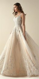 Wholesale Designer Beaded Tops - Top 30 Designer Champagne Wedding Dresses Exquisite Lace Applique Beaded Scoop Neck Floor Length Bridal Gowns Country Wedding Dress