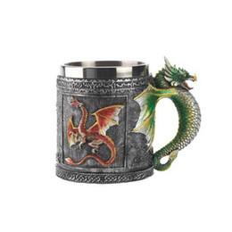 Пивные кружки онлайн-3d Dragon Coffee Mug Milk Beer Water Work Mugs Double Wall Stainless Steel Resin Drinking Gift Skull Glass Cup