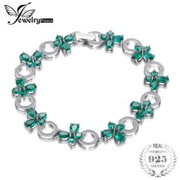 Изумрудная форма онлайн-JewelryPalace  Butterfly Shape 6.8ct Created Emerald Tennis Bracelets For Women Authentic 925 Sterling Silver Fine Jewelry