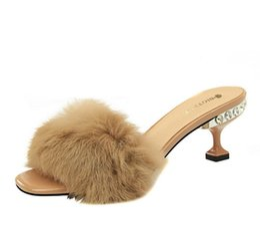2018 Nouvelle Mode Féminine sur les portes Pantoufles Strass Haut Talon Spécial Partie Chaussure Lapin cheveux élégants Éruptions ? partir de fabricateur