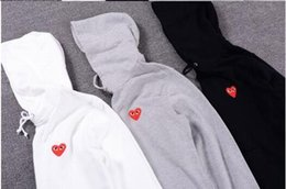 Wholesale heart sweater xl - Japanese play tide brand hooded lovers sweater PLAY small red heart tide sweater men kanye sets of cotton leisure jacket