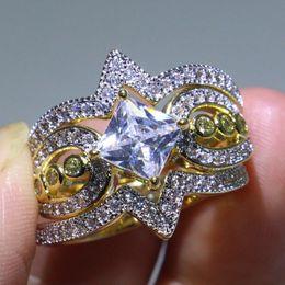 anillo de bodas único conjunto de oro Rebajas Unique Vintage Jewelry 925 Sterling Silver Color separado Gold Fill Corte de princesa 5A CZ Diamond Square 3 EN 1 Mujeres Wedding Band Ring Set