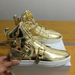Wholesale Chocolate Metal - New hot sell red Arrivla Fashion Mens medusa05 Side zipper Sheet metal kanye westCasual shoes free size 39-46