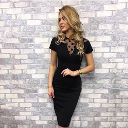 2018 New Elegant Women lack Hollow dress Autumn O-neck Short sleeve  Knee-Length Sexy Party Slim Black dresses Bodycon 33a6ffdd31e4