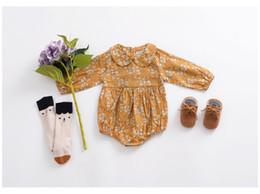 jumpsuit jaune bébé Promotion Ins Baby Girls Barboteuses Jaune Floral Imprimé À Manches Longues Combinaisons Pour Enfants Infantile Printemps Automne Nouvelle Usine De Vêtements