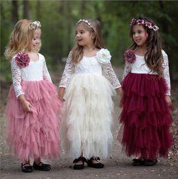 Wholesale Long Sleeve Baby Tutu Birthday - Princess Tutu Girls Pageant Dresses 3 4 Long Sleeves Baby Girl Birthday Party Christmas Communion Dresses Children Lace Flower Girl Dresses