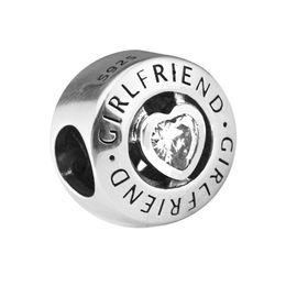 Canada Entièrement vente100% 925 Sterling Silver Clear Cz Girlfriend Perles pour la fabrication de bijoux Fit Bracelets Diy Fine Jewelry 2017 Pré-Autunm nouveau PF583 Offre