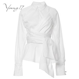 Wholesale ladies party blouses - Young17 autumn summer white blouse top long long sleeve office lady sashes women sexy party new wrap girl casual women blouse