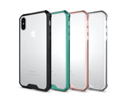 Wholesale Tpu Case Slim Galaxy - Shockproof Clear Acrylic + TPU Case Slim Armor Transparent Cover for iPhone X 7 8 6 6S Plus Samsung Galaxy S7 edge S8 S9
